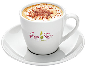 Green Farm Coffee Mug and Saucer with Latte